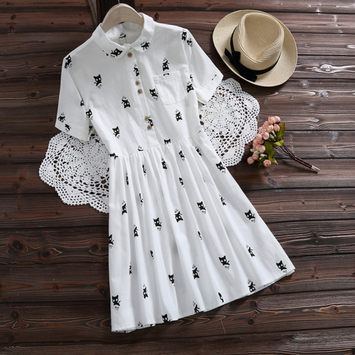 2018 Sweet Summer Beautiful Women Dresses Short Sleeve Print Cat Japanese Style Casual Turn-down Collar Plus Size Dress Female