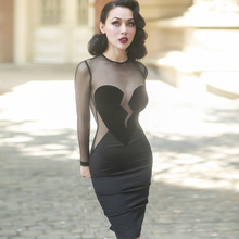 le palais vintage 2017 Summer Very Sexy See-Through Velvet Dress Lace Skinny Pencil Dress Mesh Long Sleeve Type Brokenheart