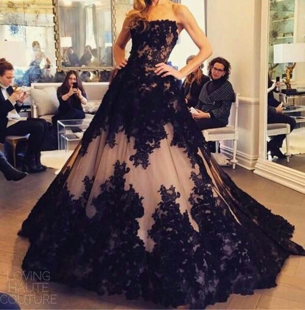 Gorgeous Black Lace Applique And Nude Tulle Strapless Ball Gown Full ...