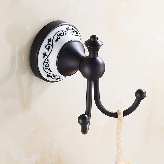 Free Shipping European Style Dual Towel Holder Decorative Hooks Oil Rubbed Coat Bathroom