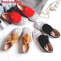 Украшенные кристаллами женская повседневная обувь с низким верхом Женские туфли лодочки Перо Украшенные обувь без шнуровки брендовые взле