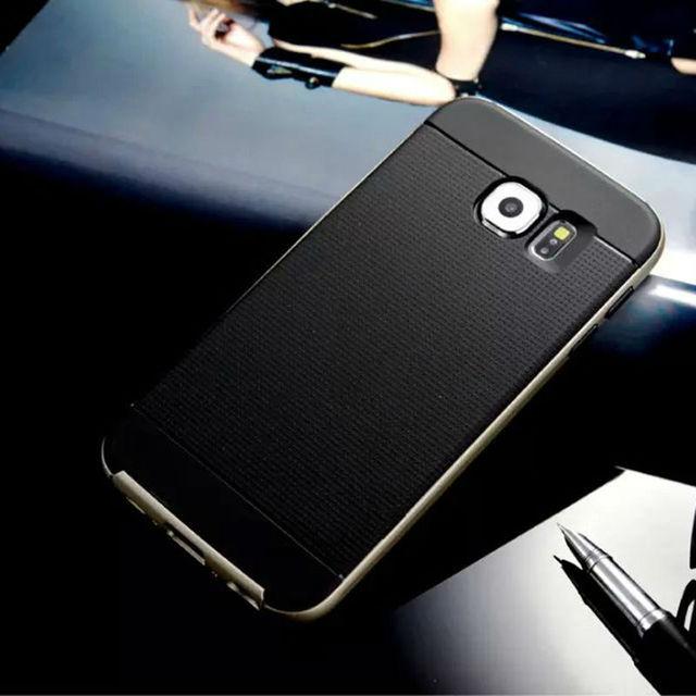 Для samsung galaxy s6/s6 edge/s6 край плюс/s7/s7 край case жесткий пк и мягкие резиновые силиконовые гибридный телефон обратно крышка