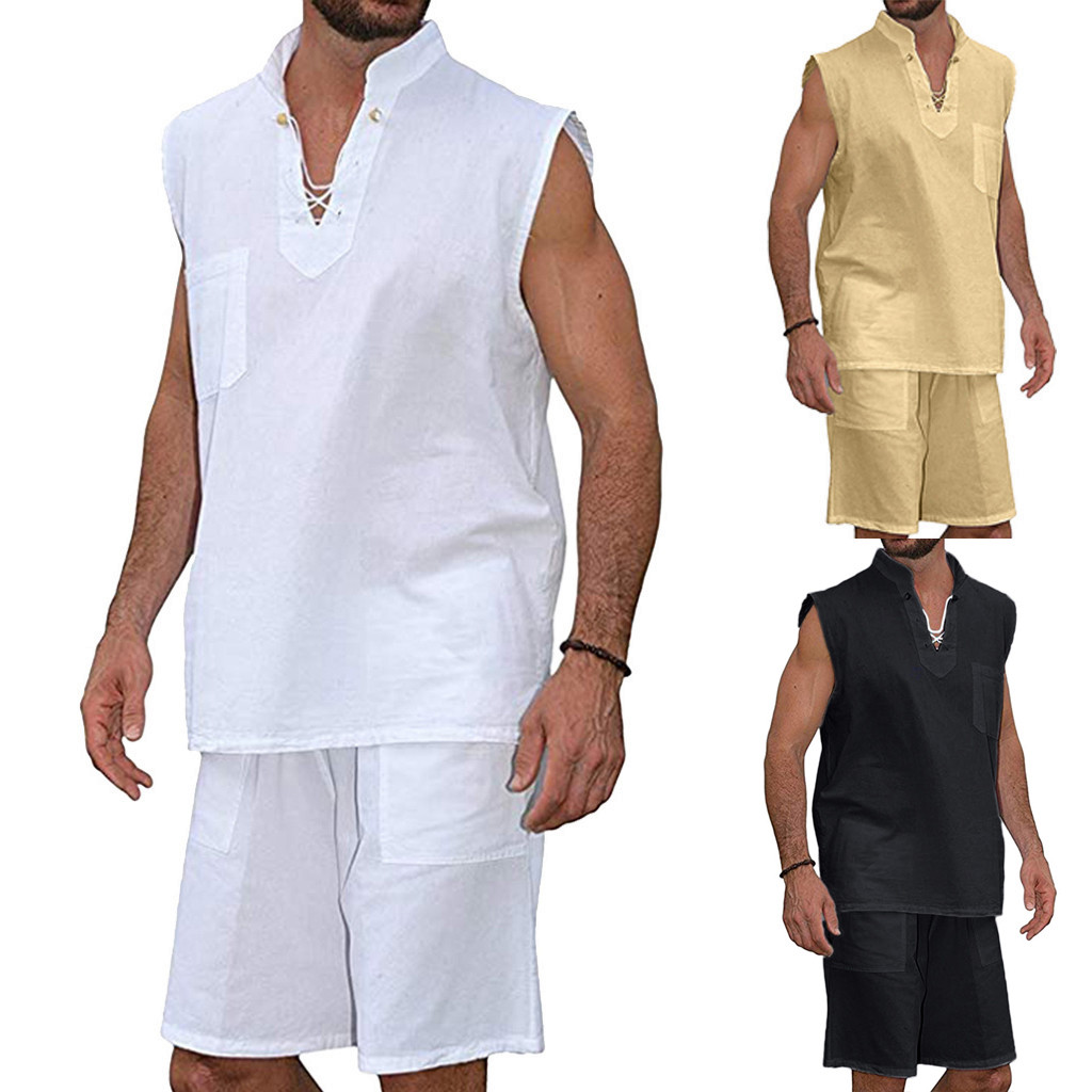 2PC Set Men's Fashion T-Shirt Tee Hippie Shirts Short Sleeve Beach Shirt Shorts Suit Blouse Pants Sets