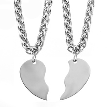 33e94dd124 100% Stainless Steel Puzzle Heart Pendants Necklaces Couple Necklace Broken  Heart Charm Valentine's Day Best