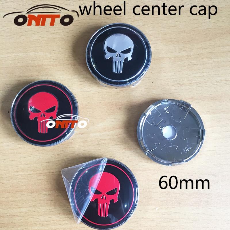 Hot selling 60mm 4PC Black red skull Car Wheel Center Hubs Wheel Center Caps Emblem car styling