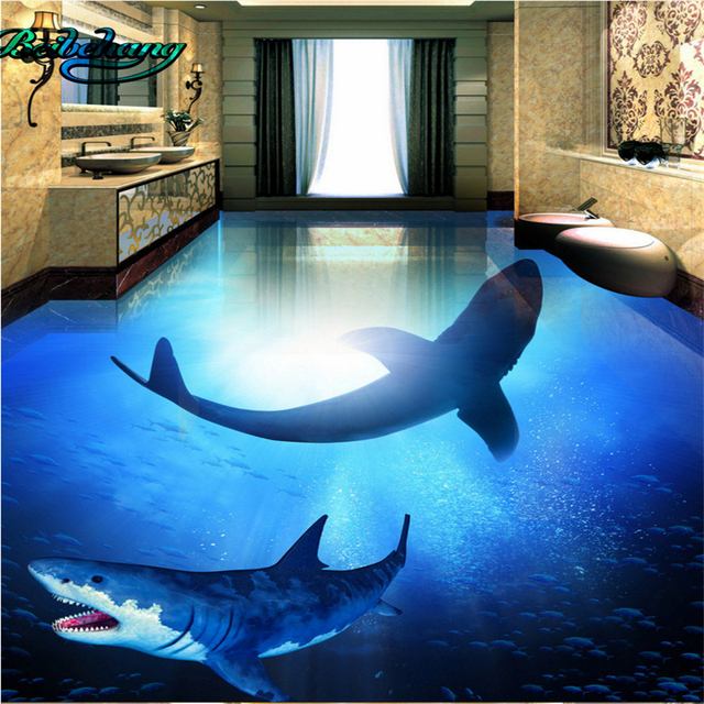 Buy beibehang deep sea shark underwater world 3d stereo bathroom living room for How do sharks use the bathroom