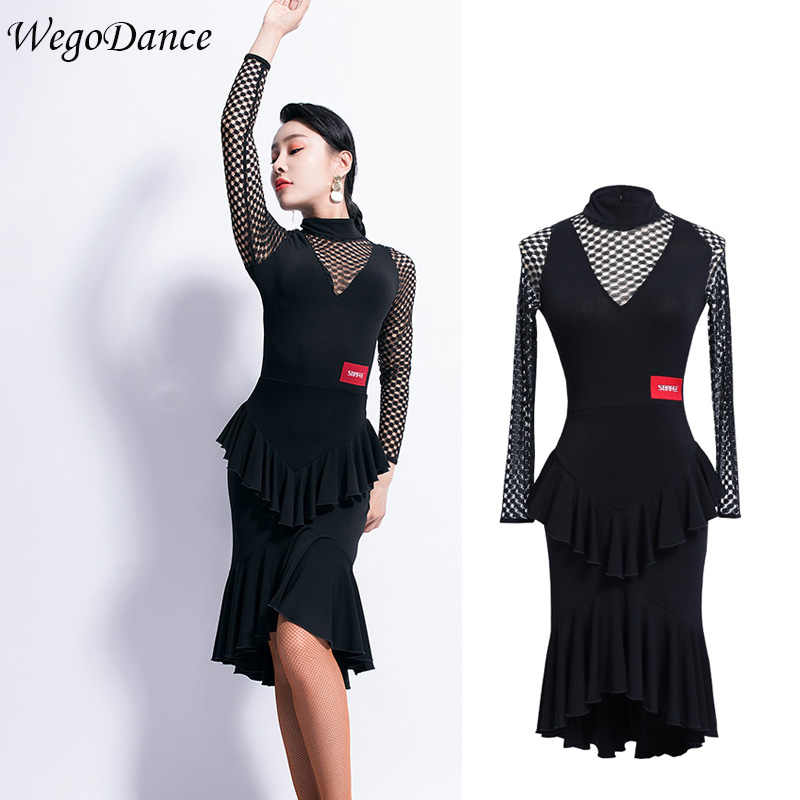 a8972fcdb new woman Latin Dance Dress Female Long Sleeve Dance Practice ballroom  dance competition dresses