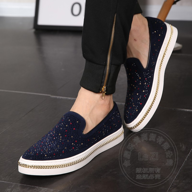 ФОТО Literary Suede Mens Platforms Rhinestone Mens Shoes Casual Hairdresser Solid Color Mens Loafers Shoes Euro Style Runway Flats