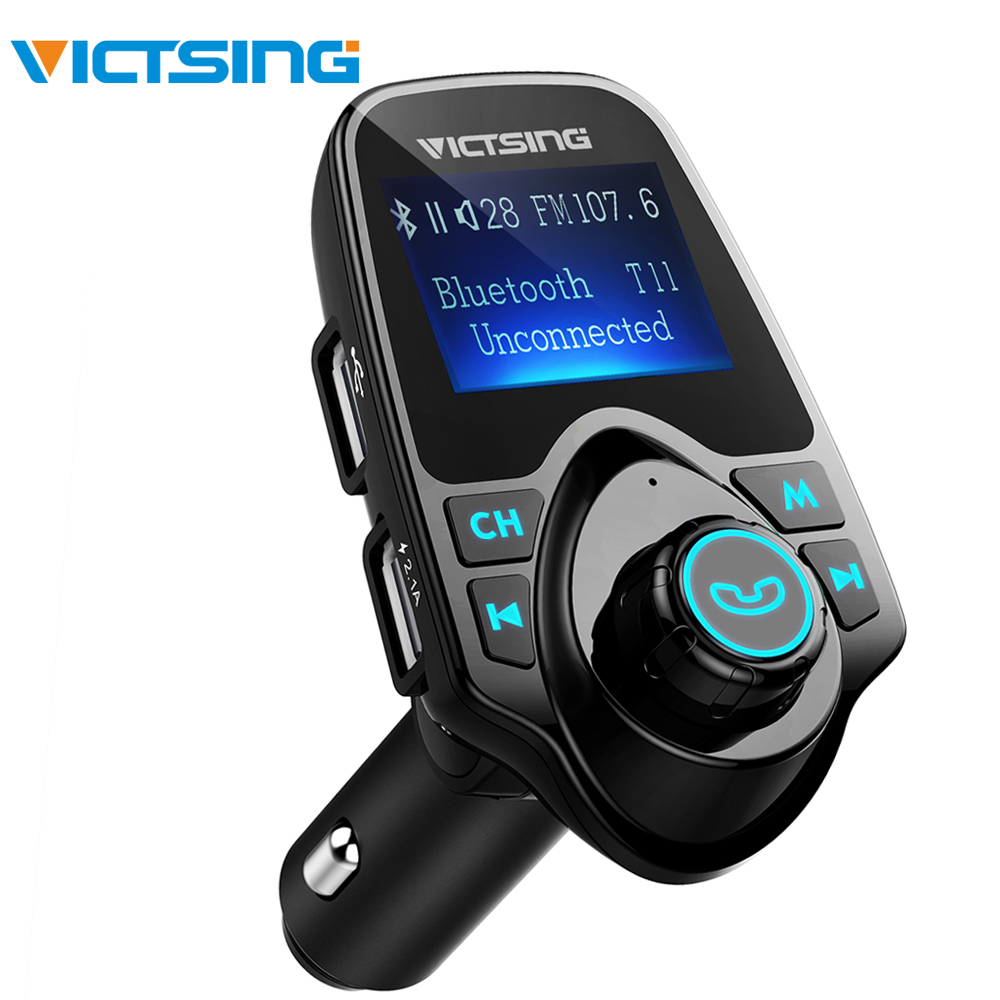Victsing carro mp3 player fm transmissor bluetooth handsfree carro kit adaptador de áudio rádio sem fio com usb duplo 2.1a usb carregador