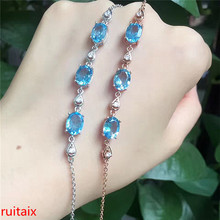 KJJEAXCMY fine jewelry 925 Pure silver with natural blue topaz bracelet jewelry gold and silver color. qwxcvb wesd natural garnet blue topaz amethyst silver bracelet 8 pieces of oval 4mm 6mm beautiful color and fashion design