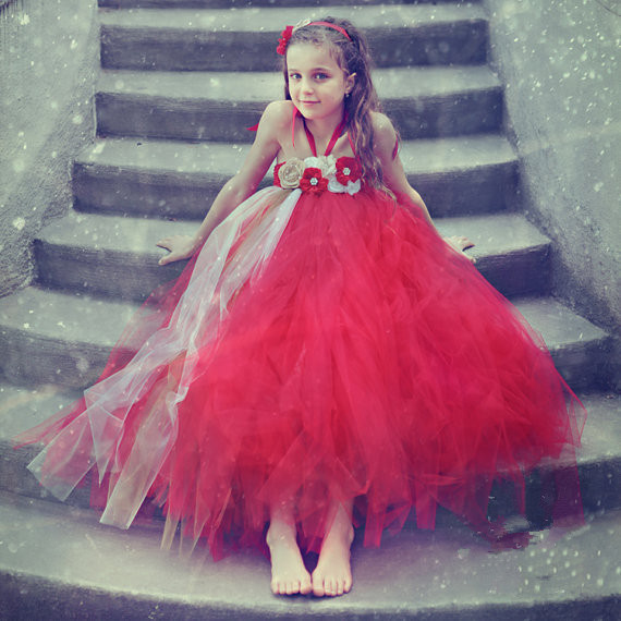 Children clothing Custom Handmade Gauze Mesh Flower girls dresses for party and wedding Tutu Princess dress