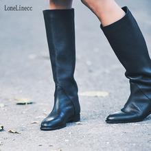 Women Black Knee High Round Toe Boots Ladies Winter Flat Heel Retro Design Vintage Shoes Female Long Street Style
