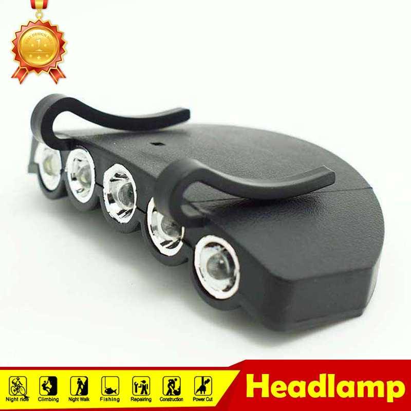 Brightness Powerful Black 5 LED Flashlight Forehead Camping Clip On ...