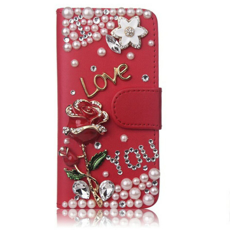 Fashion <font><b>Bling</b></font> Diamond Rose Butterfly Wallet <font><b>Flip</b></font> Leather <font><b>Case</b></font> Cover For <font><b>Samsung</b></font> Galaxy Note 10 9 8 5 S10E S10/9/8/7/6 Edge Plus image
