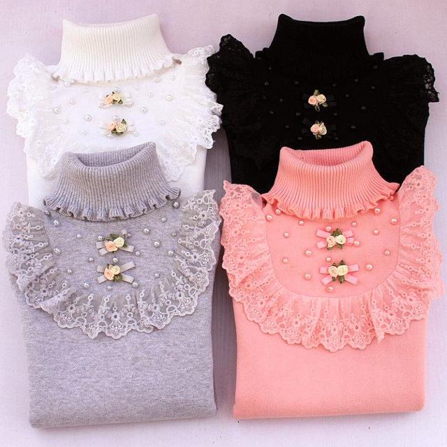 Niña suéter suéter suéter de cuello alto niño, además de terciopelo engrosamiento bebé otoño y el invierno niño grande 100% de algodón básica