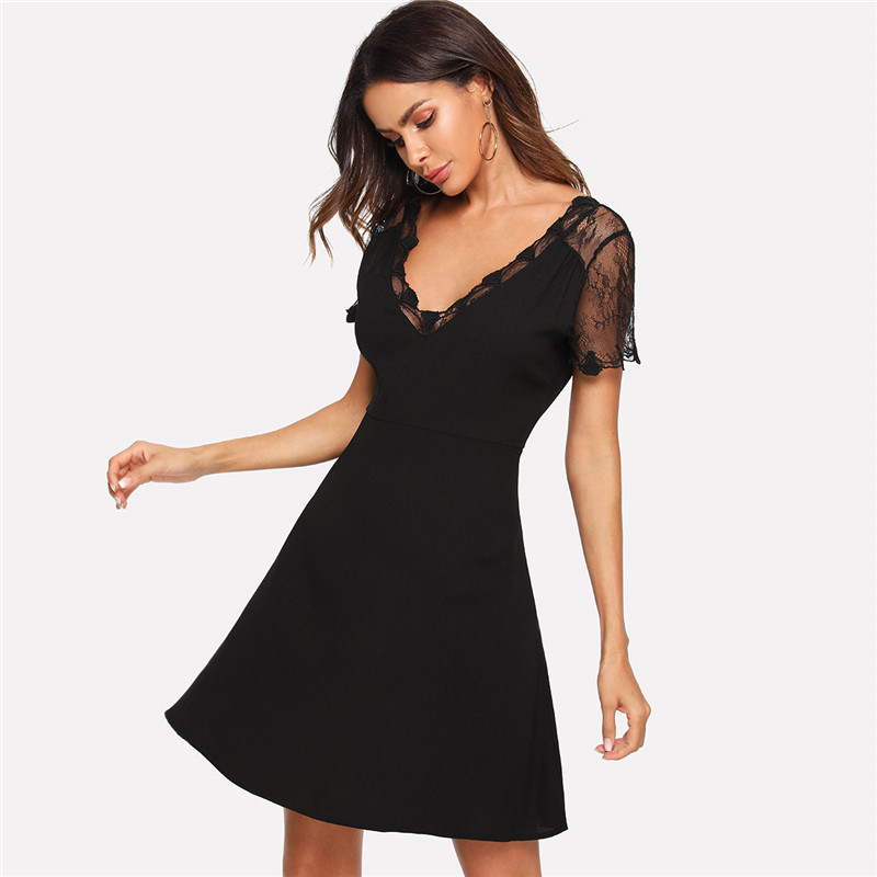 COLROVIE Black V Neck Embroidered Mesh Insert Fit And Flare Lace Party Dress 2018 Autumn Short Sleeve A Line Sexy Women Dress 5
