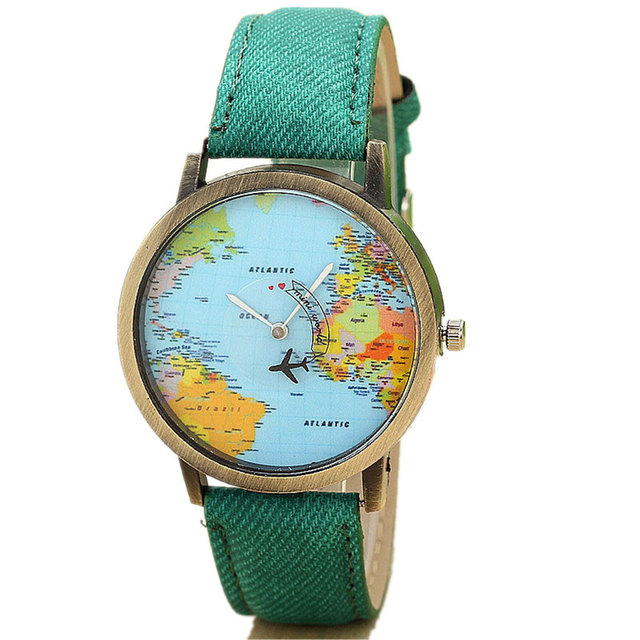 Quartz watch world travel map watches - retro wrist watch different styles and colours 2