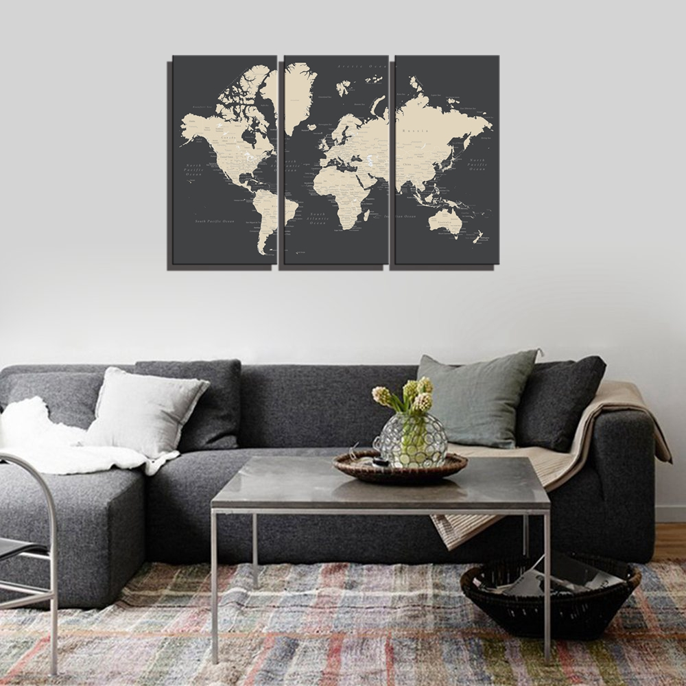 Map of the World Wall Art Canvas Painting for Dining Room Office Decor Artwork Print Home Drop Ship