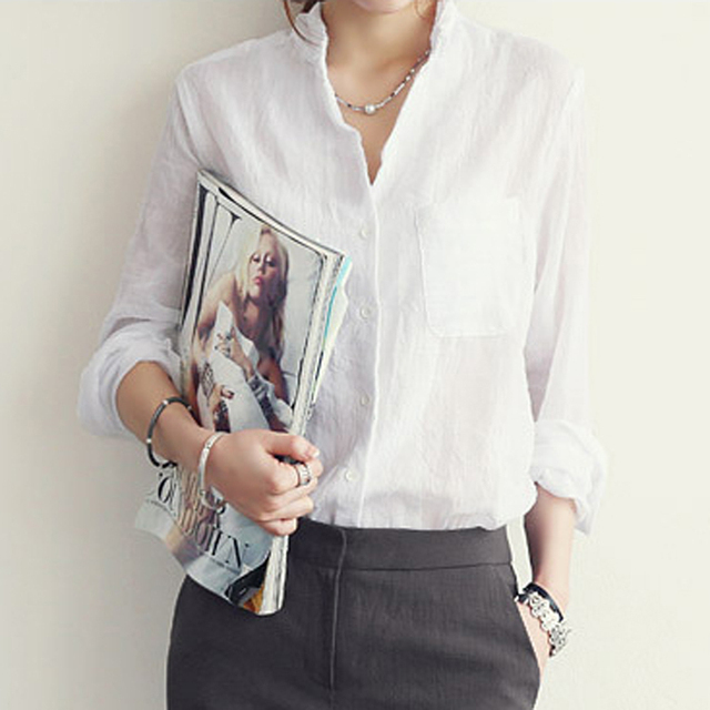 Sexy Linen White Shirt Blouse