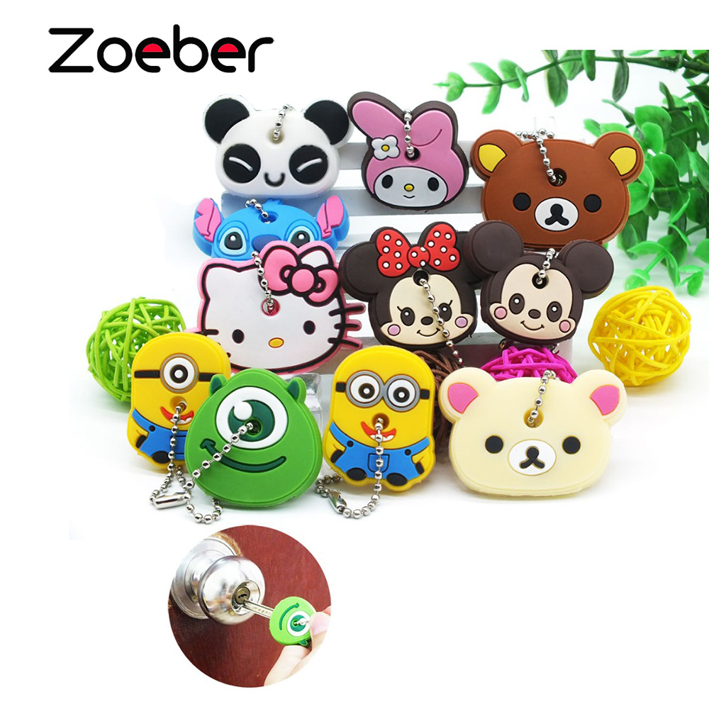 ZOEBER Funny animal keychain cartoon key chain Anime Mickey Minion Anime keycover animation key caps Children femme Keychain