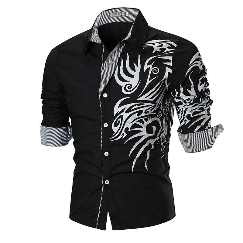 HEFLASHOR Men Shirts New Men's Dragon Print Shirts Slim  Casual Fashion Social Business Long Sleeve Shirt Camisa Masculina