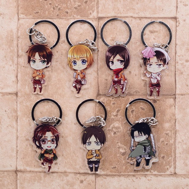 2019 Attack on Titan Keychain Double Sided Acrylic Key Chain Pendant Anime Accessories Cartoon Key Ring 2