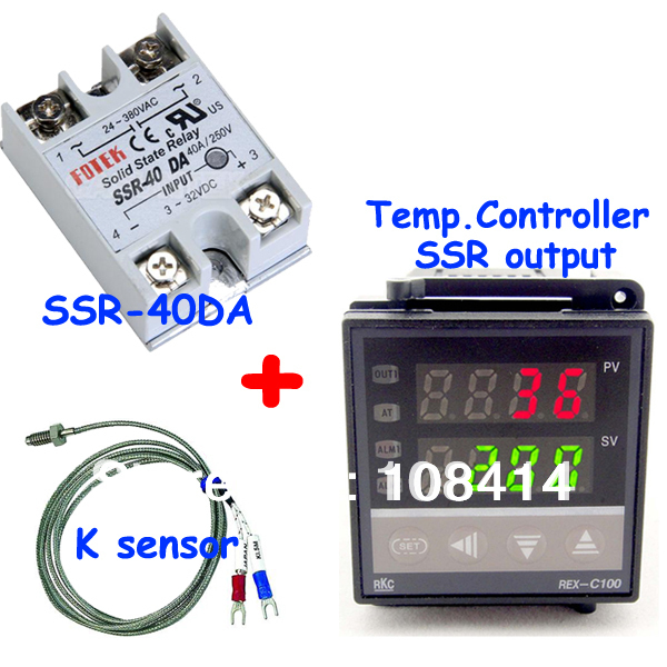Set of PID Digital Temperature Thermostat Regulator Controller REX-C100 with SSR output+Thermocouple K+Solid State Relay SSR 40A rex c100 digital pid temperature control controller thermostat thermometer relay output