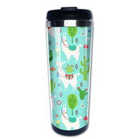 llama and cactus coffee mug picture insert car tazas stainless steel tumbler caneca tea Cups