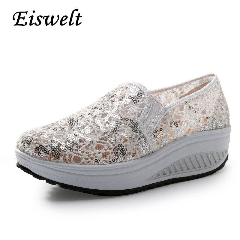 EISWELT Bling Glitter Lace Loafers Casual Platform Shoes Woman Summer Style Creepers Slip On Flats Comfortable Wedges #HDS109 wedges gladiator sandals 2017 new summer platform slippers casual bling glitters shoes woman slip on creepers