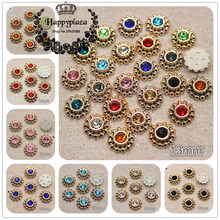 50PCS 13mm Mix Colors Shiny Rhinestone Round Flower Plastic Flatback Button Home Garden Craft Cabochon DIY Scrapbook Accessories(China)