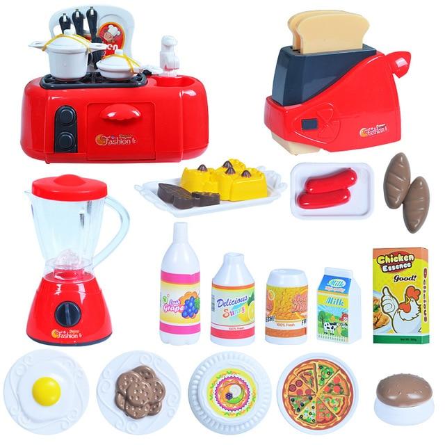 Children Kitchenware Kids Simulation Toy Kitchen Pretend Play Cooking Toys Liances Oven Bread Machine Tableware