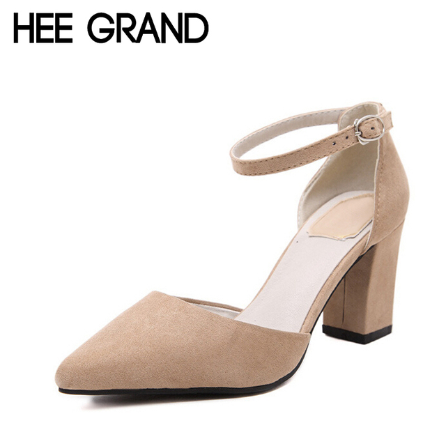 HEE GRAND Women Sandals Summer Style Solid Ankle Strap Thin Heel Shoes Woman Fashion Med High Heels For Spring Size 35-39 WXG043