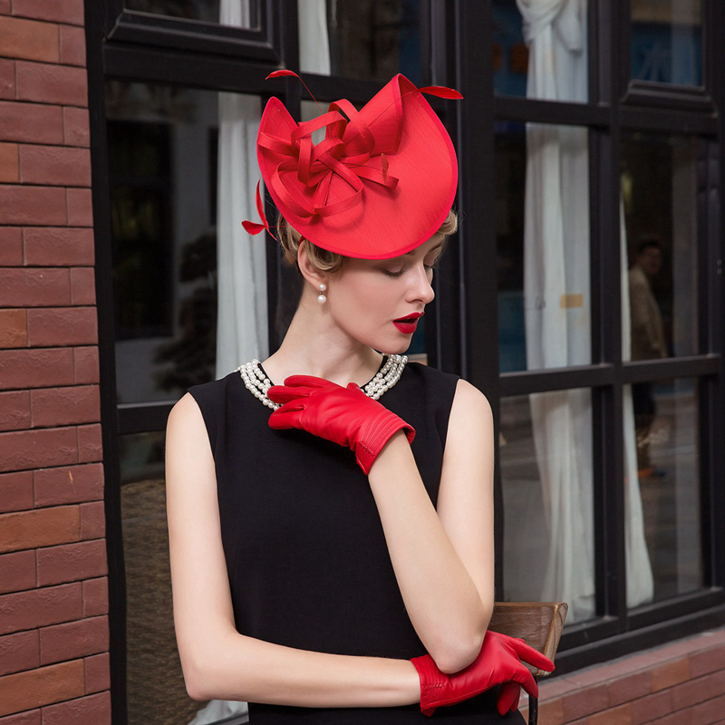 Fascinators Red Fedora Ladies Formal Wedding Hats Women Summer Pillbox Hat Kentucky Derby Party Chapeu Feminino