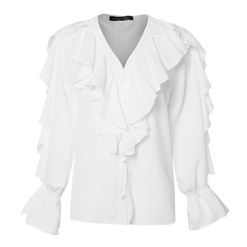 Women's Blouse Shirt Celmia Sexy V neck Long Sleeve Female Casual Ruffle Shirt Button Solid Street Blusas Plus Size OL Work Tops 5