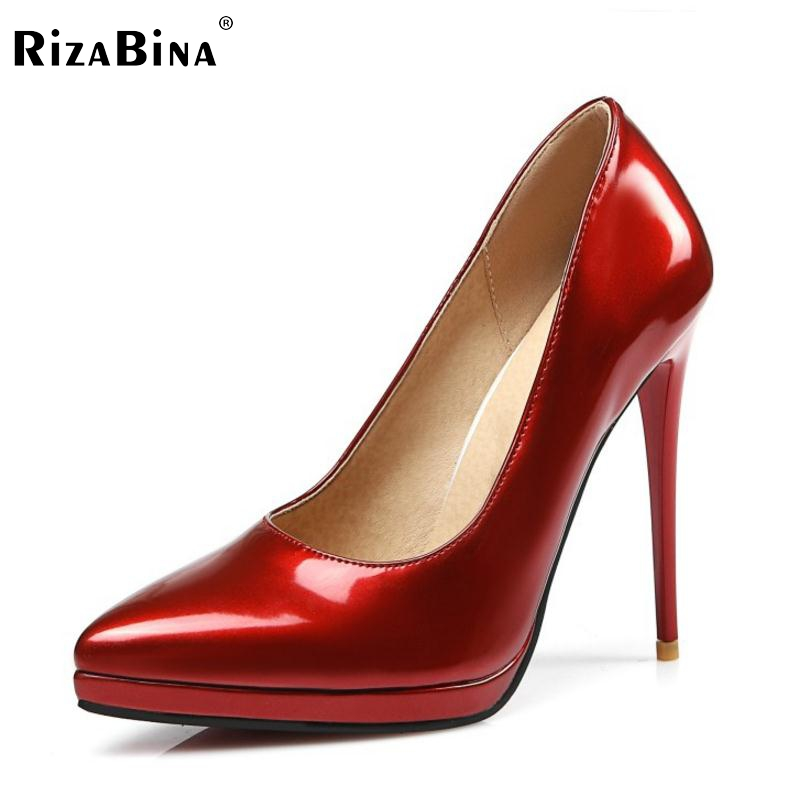 Size 31-45 Ladies High Heel Shoes Classic Women Patent Leather Platform Pumps Thin Heels Sexy Women Wedding Office Simple Shoes 2016 woman shoes high heels platform ladies bow heel womens pumps 4 colors thin heels sexy wedding shoes for women big size