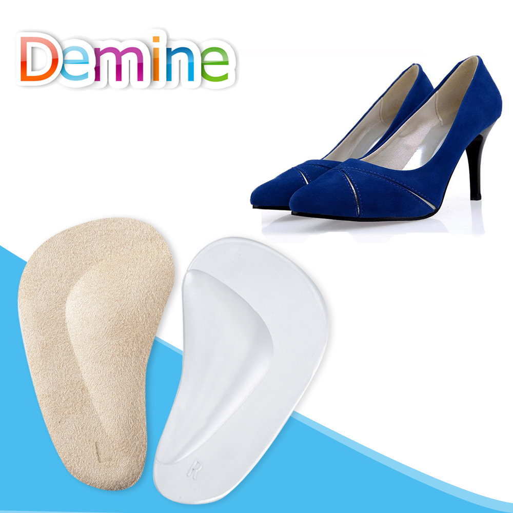 Demine GEL Arch Support Pads for Flat Foot Care Orthotic Half Insoles Shoe Heel Pain Relief Orthopedic Half Yard Pad HeelInserts demine 3d silicone gel orthotic insoles for flat feet arch support massage plantillas fascitis shoes pad foot pain relief insole