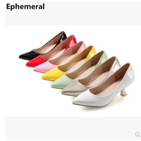 Ladies zapatos de mujer med heels red high heel pumps candy color stilettos shoes for women plus size 12 11 black white yellow