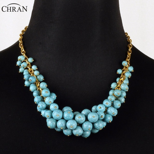 CHRAN Ladies Gifts Brand Handmade Jewelry Accessories Lovely Beads     CHRAN Ladies Gifts Brand Handmade Jewelry Accessories Lovely Beads Chunky  Necklace Gold Color Blue Beaded Necklace