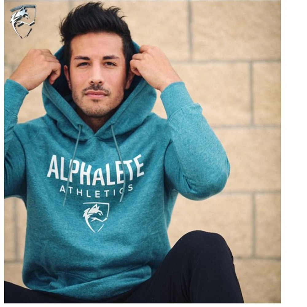 ALPHALETE Men Gyms Hoodies Gyms Fitness Bodybuilding Sweatshirt  Pullover Sportswear Male Workout Hooded Jacket Clothing