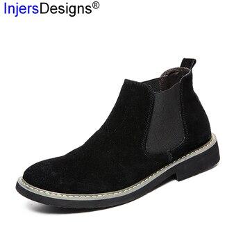 Hot Sale Vintage Chelsea Boots Men Pig Suede Martin Boots High Top Casual Tooling Shoes Men Ankle Boots Botas Hombre Size 38-44