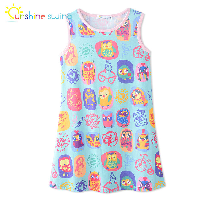 bb6d2fd9c Sunshine Swing Baby Girl Casual Tank Dress Cartoon Animal Digital Print  Toddler Summer Sleeveless A-line Kids Dresses