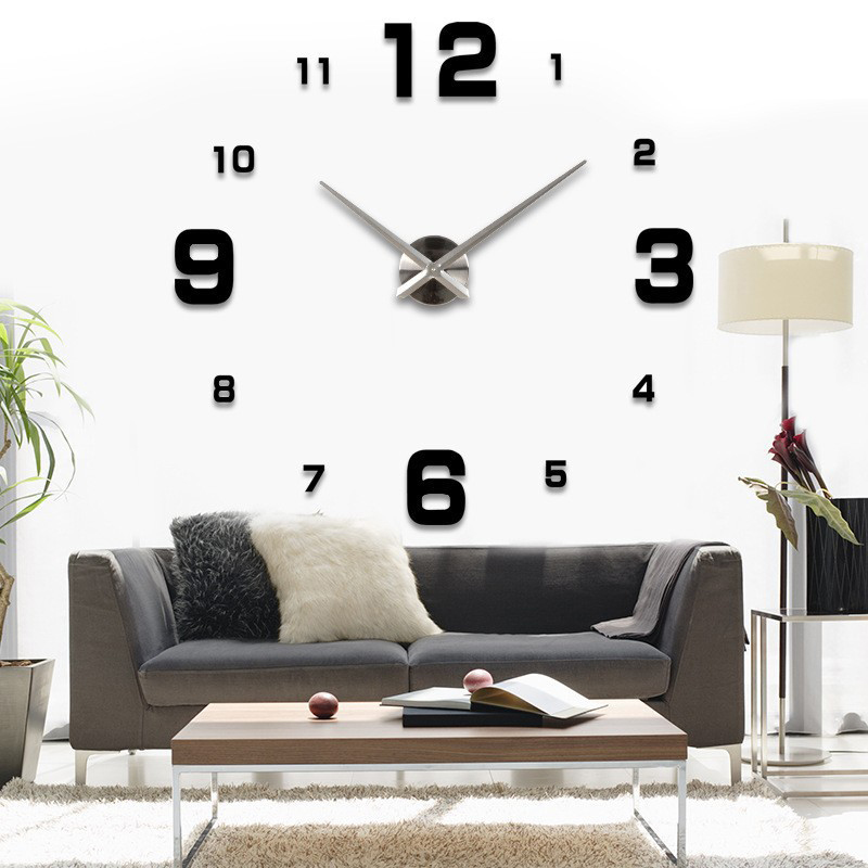 free shipping fashion 3d big size wall clock mirror sticker diy wall clocks home decoration. Black Bedroom Furniture Sets. Home Design Ideas