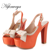 Hot sale!  Big size 30-52 Fashion sweet style women shoes Ultra high heels Bowknot decoration leisure peep toe Sandals HQW-888