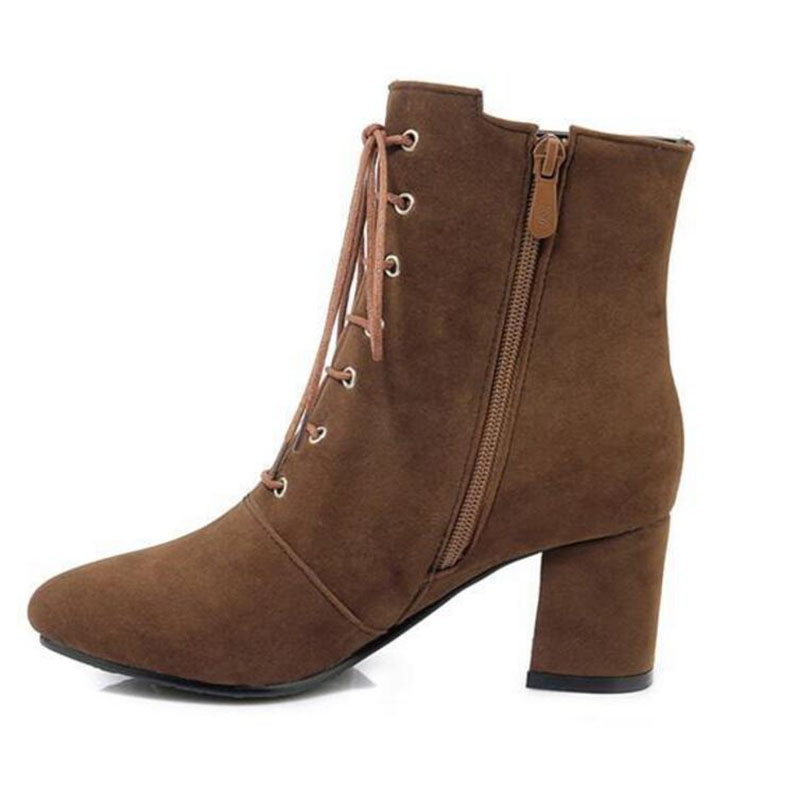 brown femmess lace up ankle bottes