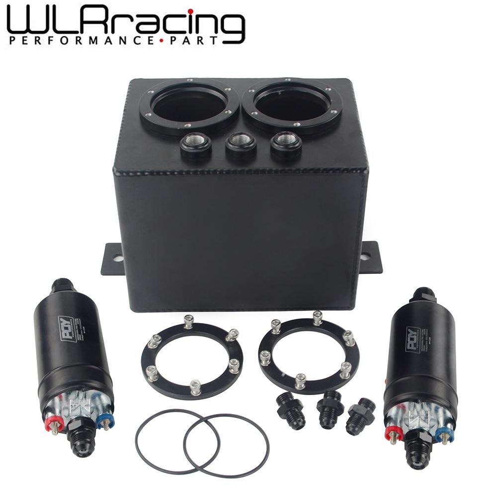 3L Dual BILLET ALUMINUM FUEL SURGE TANK EFI 380LPH 1000HP TOP QUALITY External Fuel Pump E85