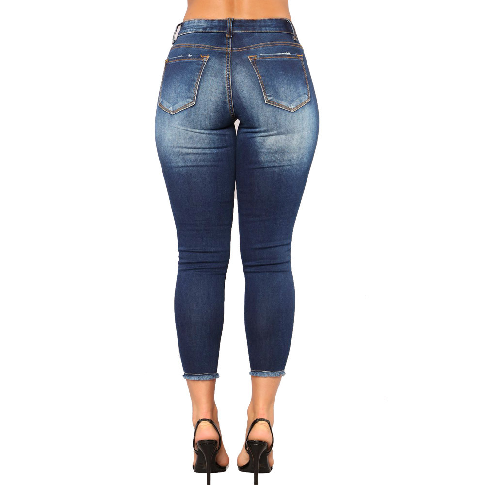DOMBBFY 2019 New women Skinny Jeans Pancil Pants Women High Waist Slim Hole Ripped Denim Jeans Casual Stretch Trousers Jeans in Jeans from Women 39 s Clothing