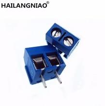 500 PÇS/LOTE KF301 2P KF301 5.0 2P KF301 Parafuso 2Pin 5.0mm Alfinete PCB Terminal de Parafuso Do Bloco Conector Azul