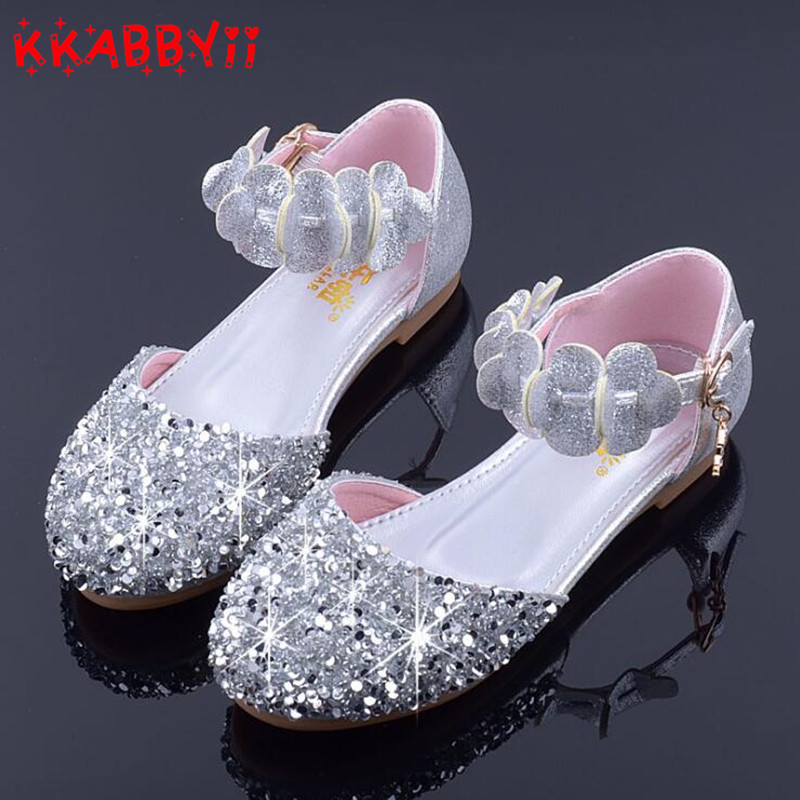 7eb31e9a89dc KKABBYII Princess Kids Leather Shoes For Girls Flower Casual Glitter  Children High Heel Girls Shoes Butterfly Pink Silver