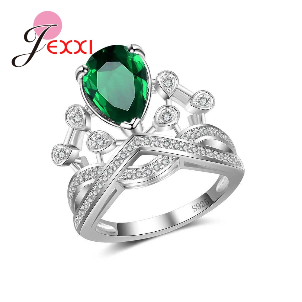 JEXXI Special Design Authentic 925 Sterling Silver Rings With AAAAA Zirconia Women Wedding Engagement Rings Hot Selling