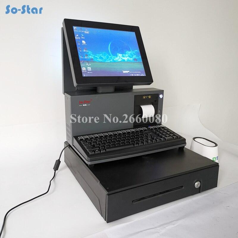 Double caisse enregistreuse d'écran d'affichage à cristaux liquides de contact avec l'imprimante de reçu de 58mm et le tiroir-caisse pour la Machine terminale de position de supermarché tout en un